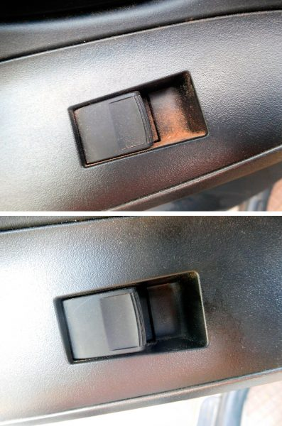 Top: Sandy gunk in the electric window controller button. Bottom: No sandy gunk down there after dusting it out.