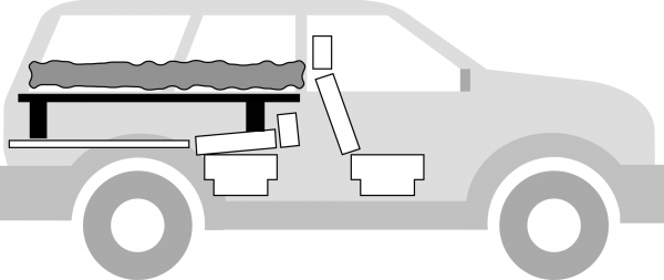 "The black part is the ""table"" platform, and the wavy gray thing is the bed."