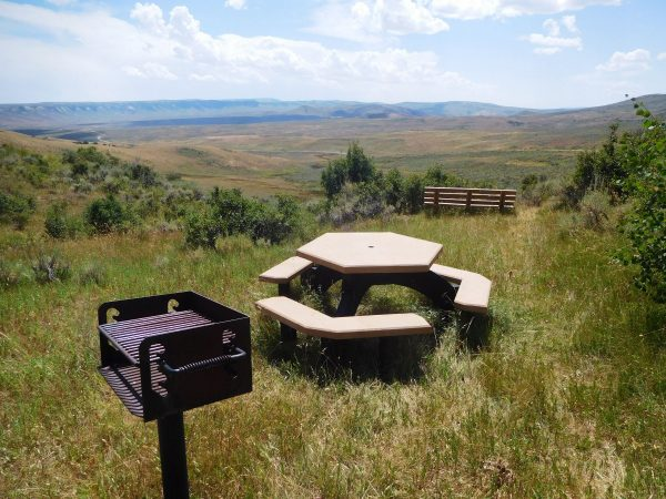 Picnic table near the start of the Nature Trail