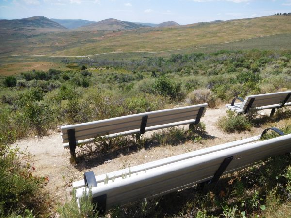 At the highest point of the nature trail are these benches to enjoy the view from