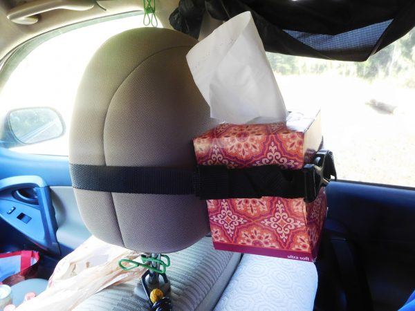 The tissue box strapped to a headrest.
