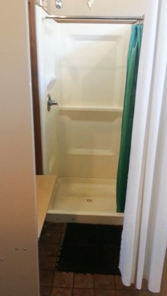 A shower stall at Colter Bay