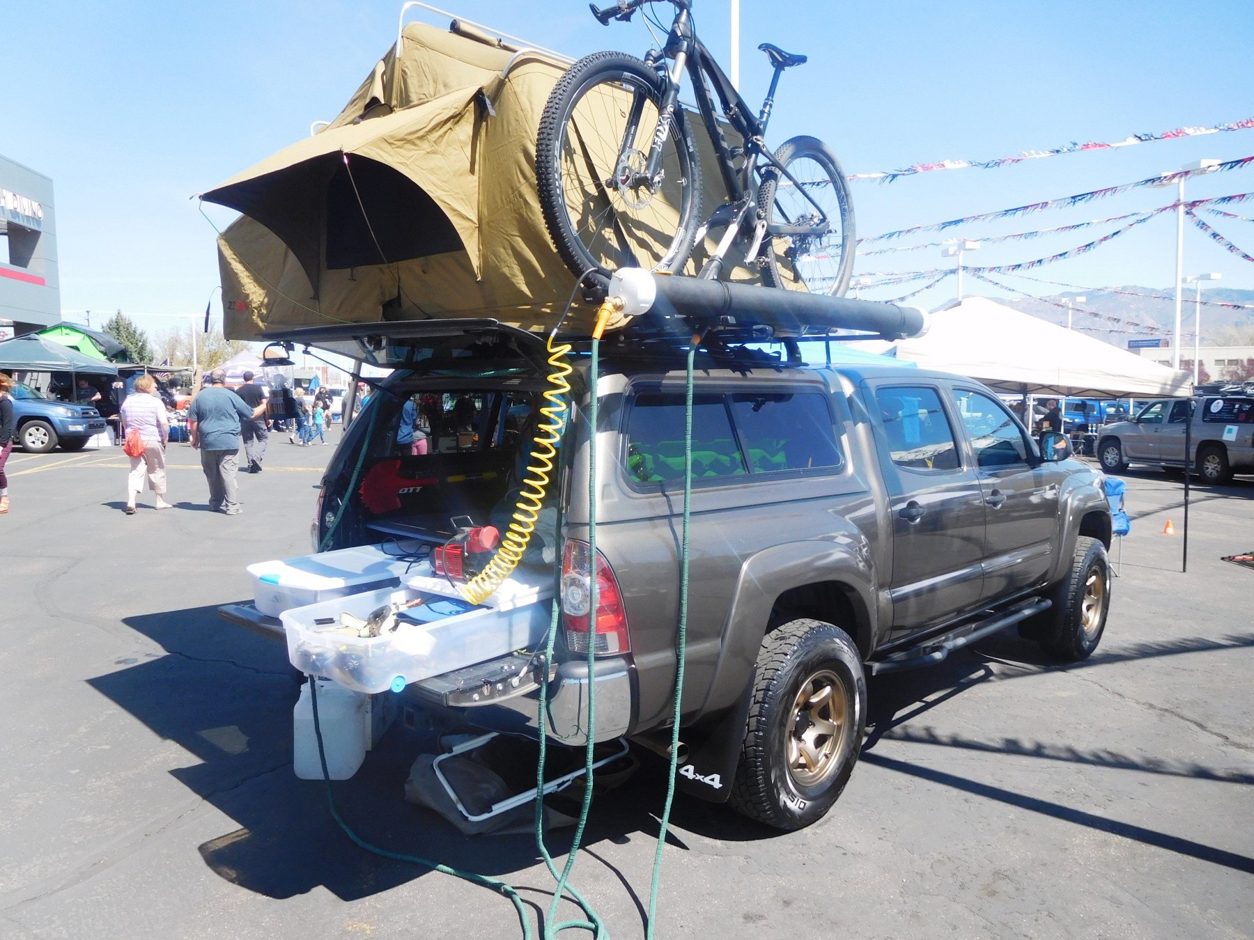 A look at the whole setup. Not an SUV but undoubtedly a great rig & DIY PVC Rooftop Solar Shower for a Car Van SUV or Truck u2013 SUV RVing