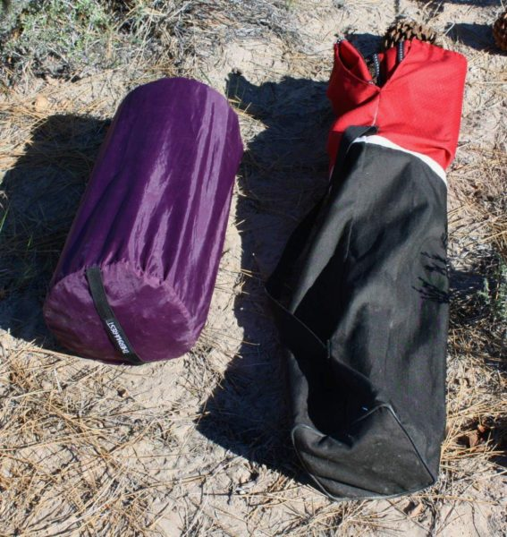 Chairman of the board: the ThermaRest Luxury Map mattress rolls up and slips inside this purple stuff sack. Right: a Coleman folding chair.