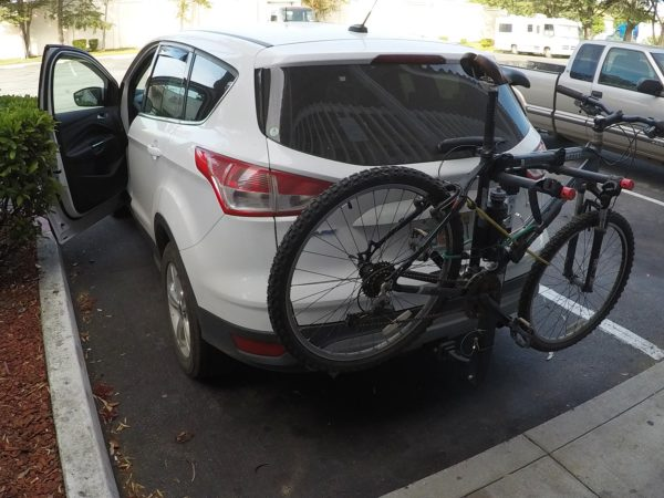 The hitch-mounted bike carrier.