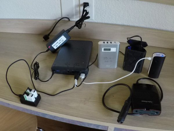 Ted's batteries and charging setup.