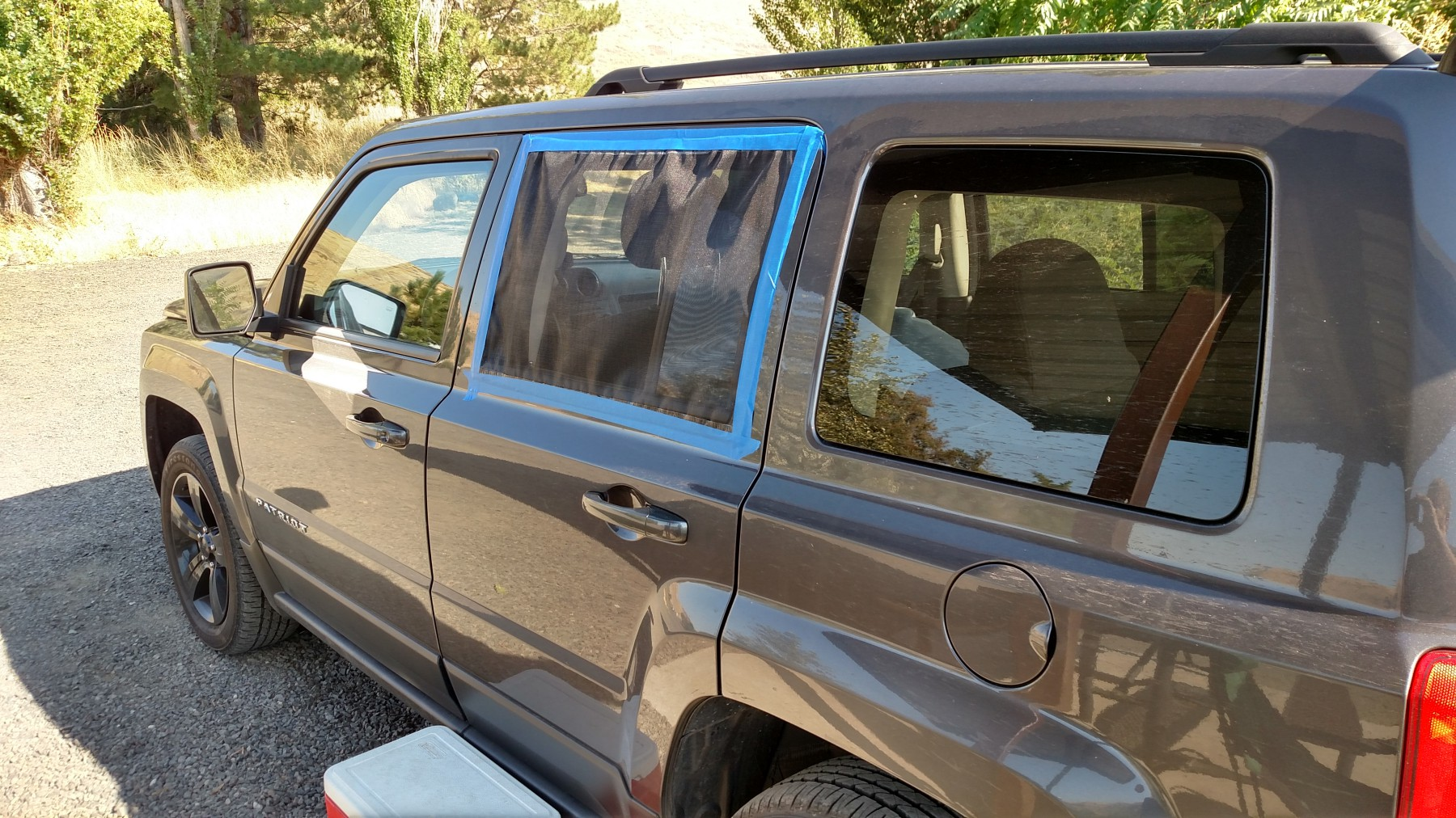 I bought screen for less than $10 at Walmart and cut them to fit my u201c & Billu0027s Setup for Sleeping/Camping in a Jeep Patriot u2013 SUV RVing