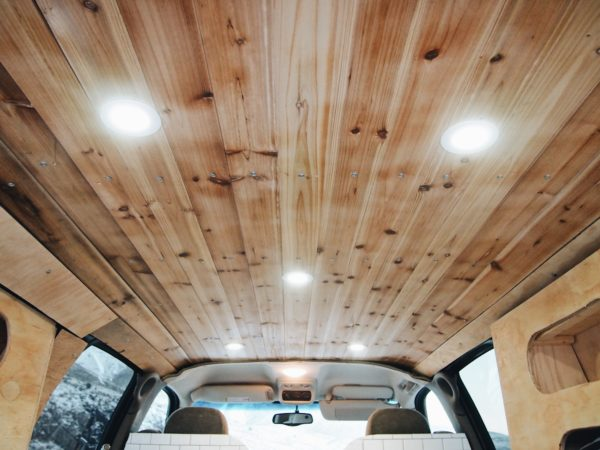 Wood ceiling and lights