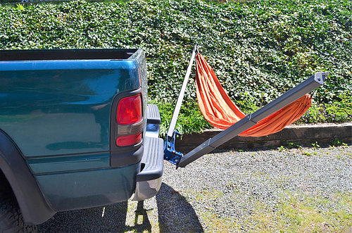 McClean Metalworks hitch-mounted hammock stand